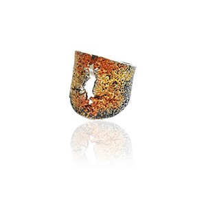ARIOR RED AND ORANGE SILVER RING