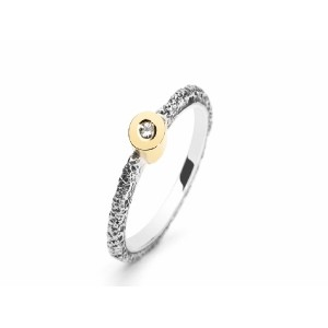 ARIOR SILVER AND GOLD RING WITH DIAMOND