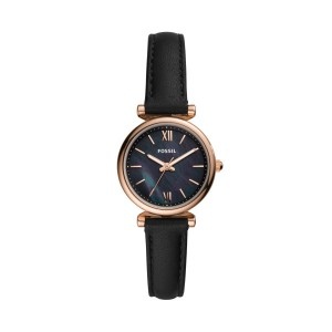 FOSSIL WATCH WITH BLACK LEATHER STRAP