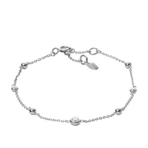 FOSSIL SILVER BRACELET WITH ZIRCONITES