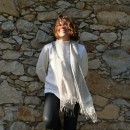 SQUARE PATTERN LINEN SCARF BY DRAPS BARCELONA